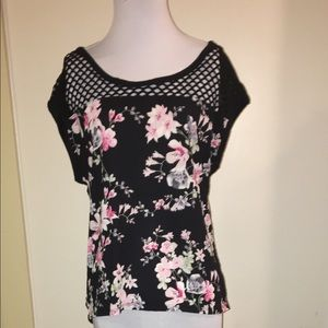 Express Caged Floral Top XS
